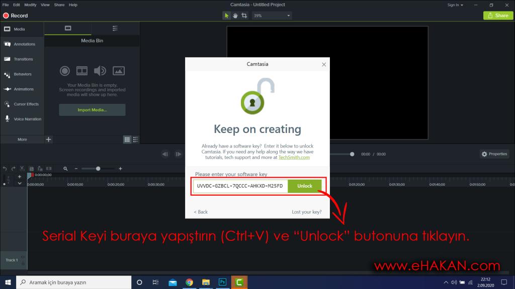 Serial Key yapıştırıp etkinleştirme ekranı.